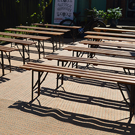 Vintage Bench And Table Hire Ideal For Retro And Festival